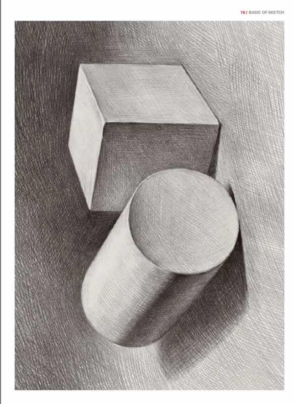 素描风景基础画 基础素描风景 素描基础入门几何体