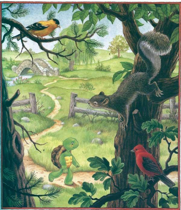森林小桥卡通图片