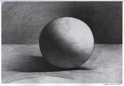 素描基础课程几何结构圆锥贯穿体画法
