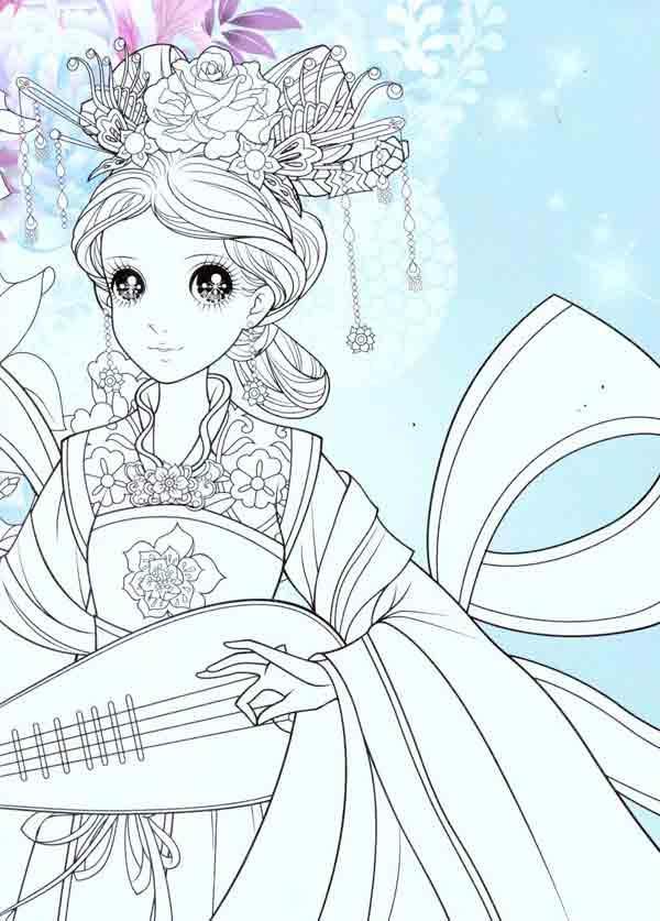 儿童仙女弹琴简笔画