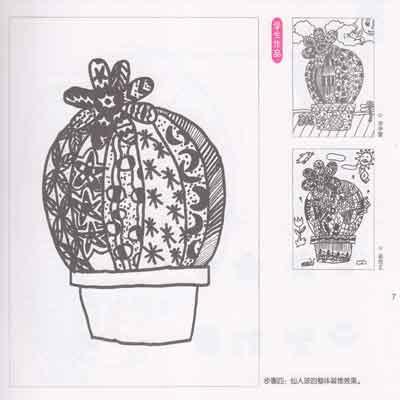 仙人掌植物线描